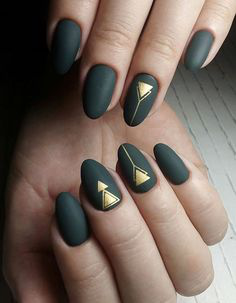 Gold Oval Matte Nail Design