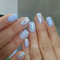 Holographic Gel Nail Design Idea