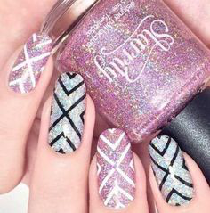 Aztec Glitter Winter Nail Design