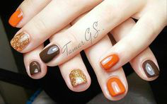Brown Fall Nail Art Idea