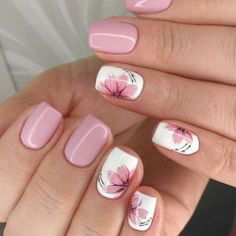 Pink Fall Nail Art Idea