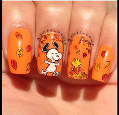Orange Fall Nail Art Idea