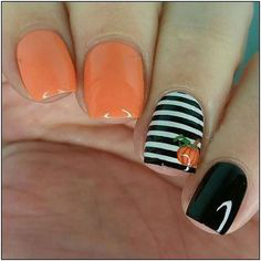 Pumpkin Fall Nail Art Idea