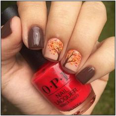 Fall Tree Nail Art Idea