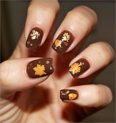 Gold Fall Nail Art Idea