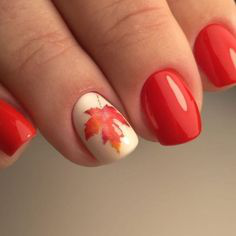 Red Fall Nail Art Idea