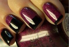 French Purple Fall Nail Art Idea
