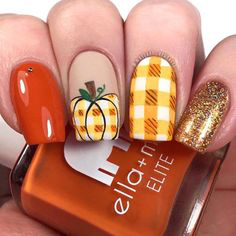 Pumpkin Autumn Nail Design