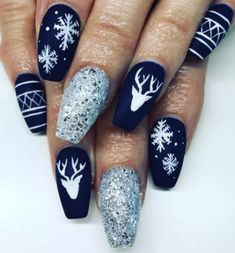 Elk Glitter Winter Nail Design