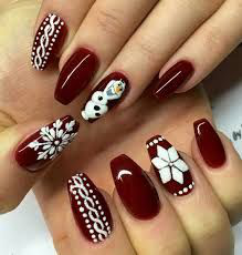 Red Glitter Winter Nail Design