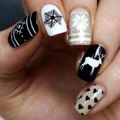 Black and White Glitter Winter Nail Design