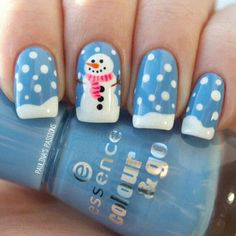 French Snowman Winter Nail Design
