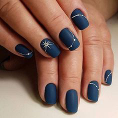 Navy Sky Autumn Nail Design