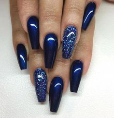 Blue Glitter Winter Nail Design