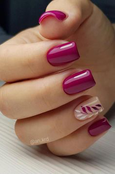 Pink Autumn Nail Design