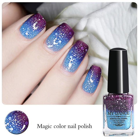 Thermal Nail Polish Temperature Changing Color Peel Off Colorful Bling Nail Polish