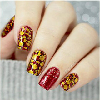 Gold Sequins Valentine Nail Design