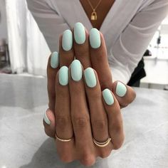 Turquoise Oval Nail Design