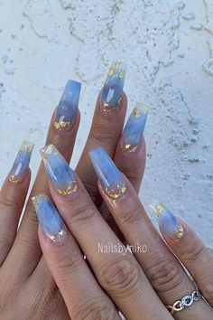 Blue Nail Polish Designs-10 Gold Sequins nails