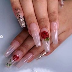 Transparent Long Stiletto Valentine's Nail Art Idea