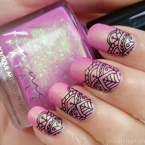 Perfect Black Stamping Nail Polish Designs 2018