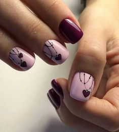 Love Necklace Valentine's Nail Art Idea
