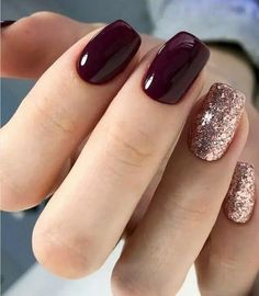 Pretty Nail Design-16 Burgundy Glitter nails