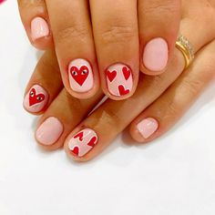 Simple Love Valentine's Nail Art Idea