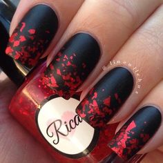 Red Sequins and Black Valentine's Nail Art Idea