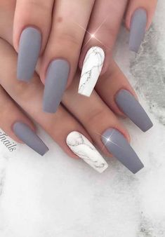 Gray Marble Coffin Nail Design
