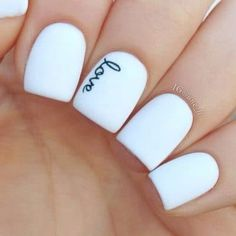White and 'Love' Valentine's Nail Art Idea