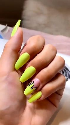 Light Yellow Flame Valentine nail art idea