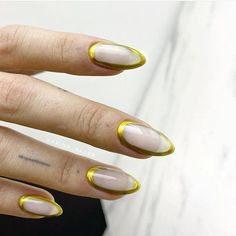 Outer Ring Edge Golden Summer Nail Designs