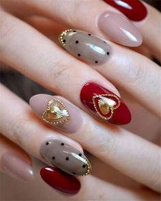 Gold 3D Stickers Valentine Nail Design