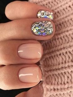 Glitter Sequins Short Nails