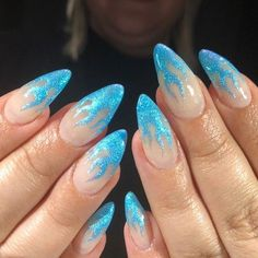 Blue Glitter Flame Nails