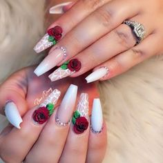 Rose 3D Flower Nails