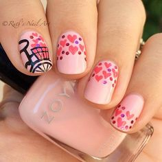 The bicycle is full Valentine nail art idea