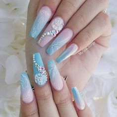 Blue 3D Flower Nails