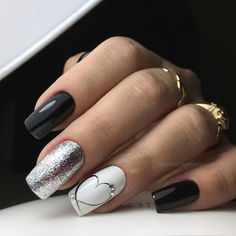 Christmas Gel Nail Design-15 Black and White nails