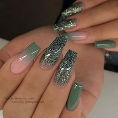 Pretty Nail Design-4 Green Coffin nails