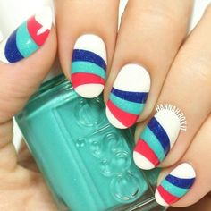 3 Color Pattern Summer Nail Designs