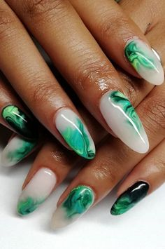 Green Marble Spring Nail Design