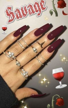 Burgundy Coffin Nail Design
