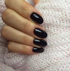 Gel Black Oval Nail Design