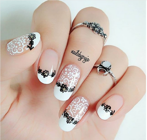 lace nail art design - 50+ Romantic Lace Nail Art Designs 2018 BeautyBigBang