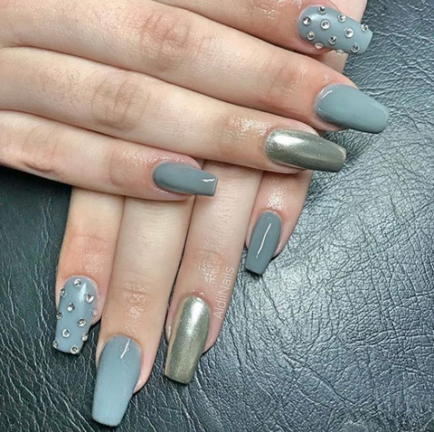 metallic nail design