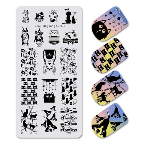 Animal Theme Rectangle Nail Stamping Plate