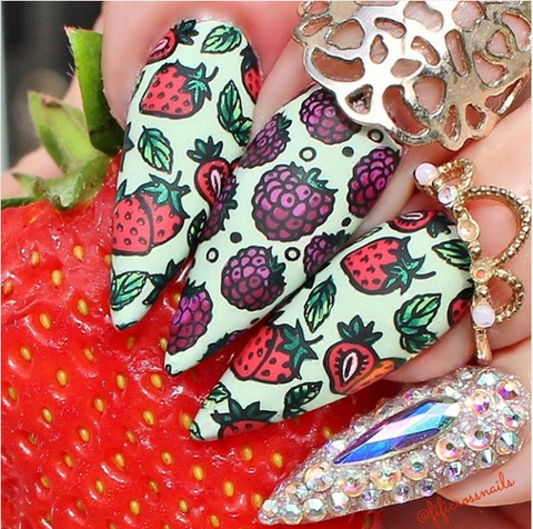 summer fruit design, nail design, nail art