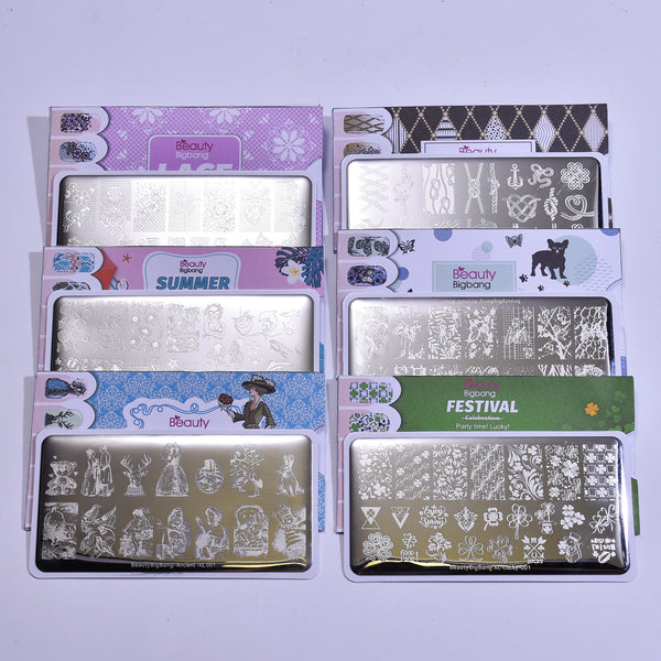 6Pcs Steel Plate Set Contains 6 Different Themed Steel Plates Including The Ancient Animal Clover
